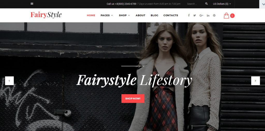 Demo Preview for Fairy Style Fashion Store WooCommerce Theme 58499 1024x506